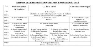 Horario de la Jornada de Orientación 2018 - Escolapios Granada Genil Colegios