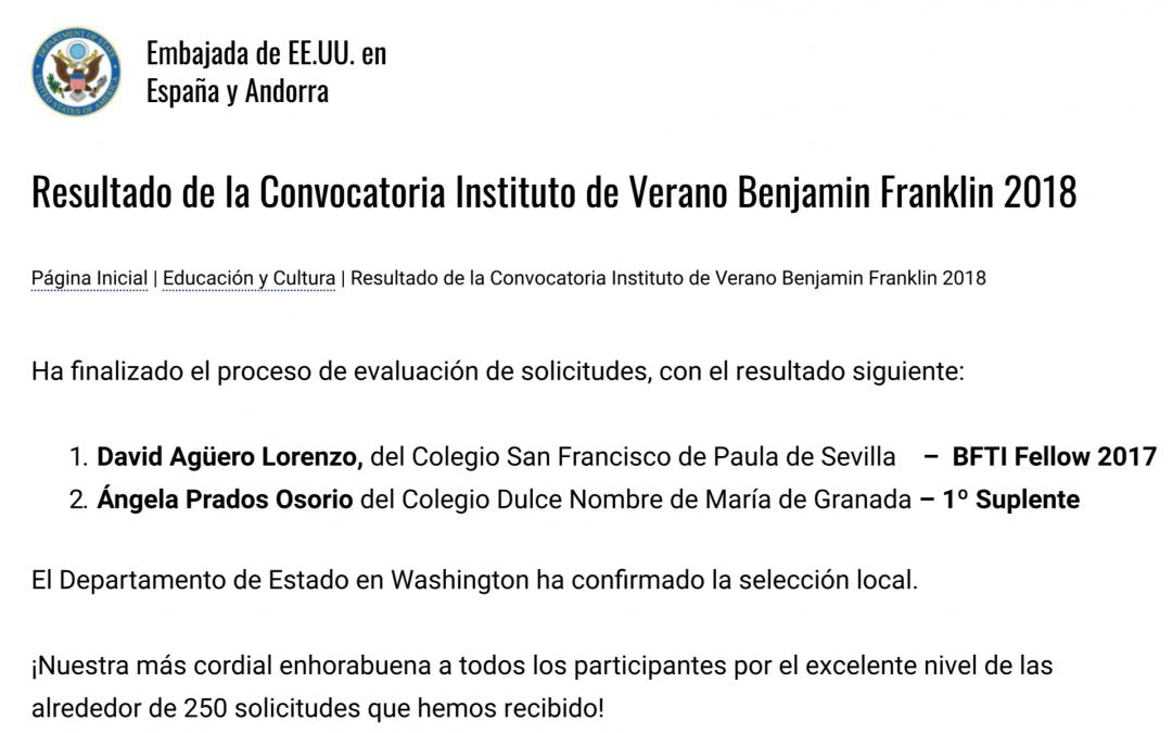 Ángela Prados Osorio, 2ª en la convocatoria de beca de estudios en EEUU en verano
